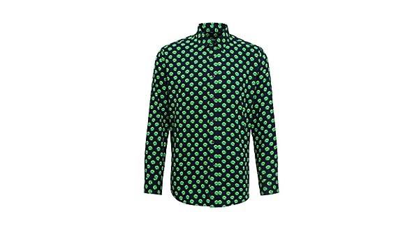 Christmas Shirt Hombres brotes diseño Navidad Navidad Camisa Formal Oficina camisa-broteNavy/Green-2XL: Amazon.es: Ropa y accesorios
