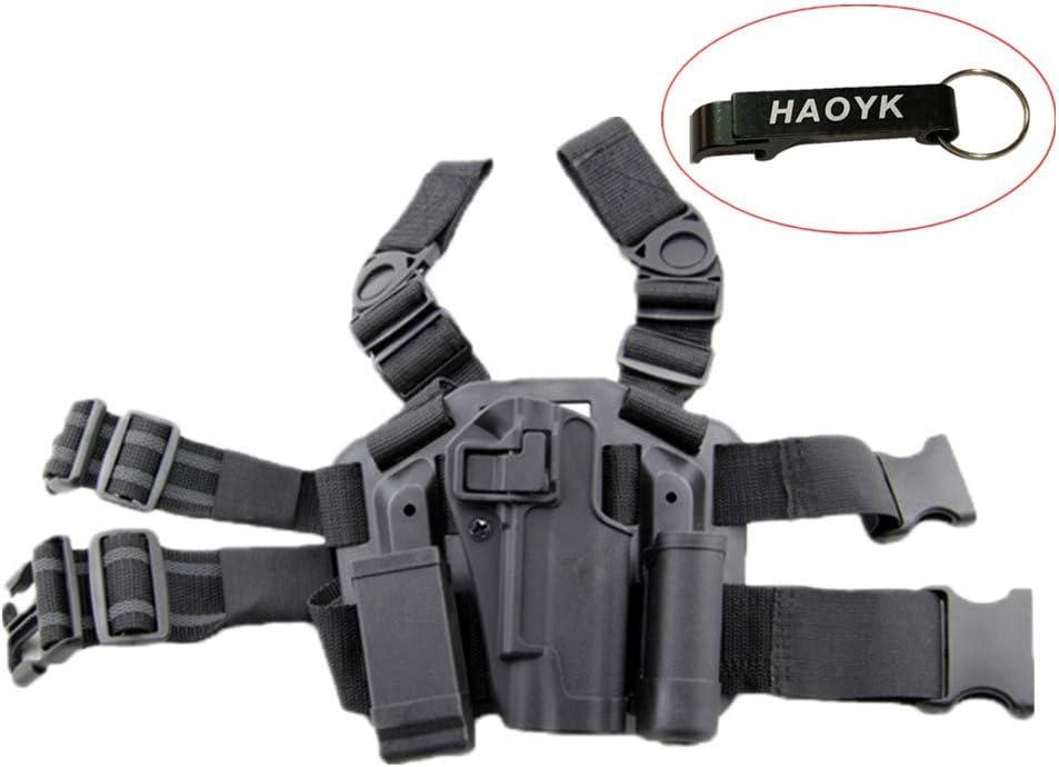 haoYK Ajustable Tactical Airsoft Pistola Gota Holster Bag Muslo Derecho Leg Holster con Revista Torch Pouch para Colt 1911 M1911 - Llavero Incluido