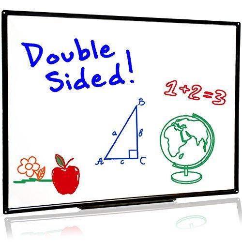Large Two Sided Dry Erase Whiteboard | Sleek, Stylish Design w/Sturdy Black Frame | Easy Erase | 32
