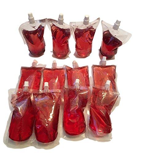 12x 0,5 Liter Trinkbehälter Faltbare Flaschen Trinkbeutel für Wasser / Saft / Alkohol usw. - Platzsparend - Flüssigkeits Aufbewahrung Behälter beim Camping - Getränke portionieren - ideal zum Wandern WASSERBEUTEL - Auslaufsicher & Wiederverwendbar