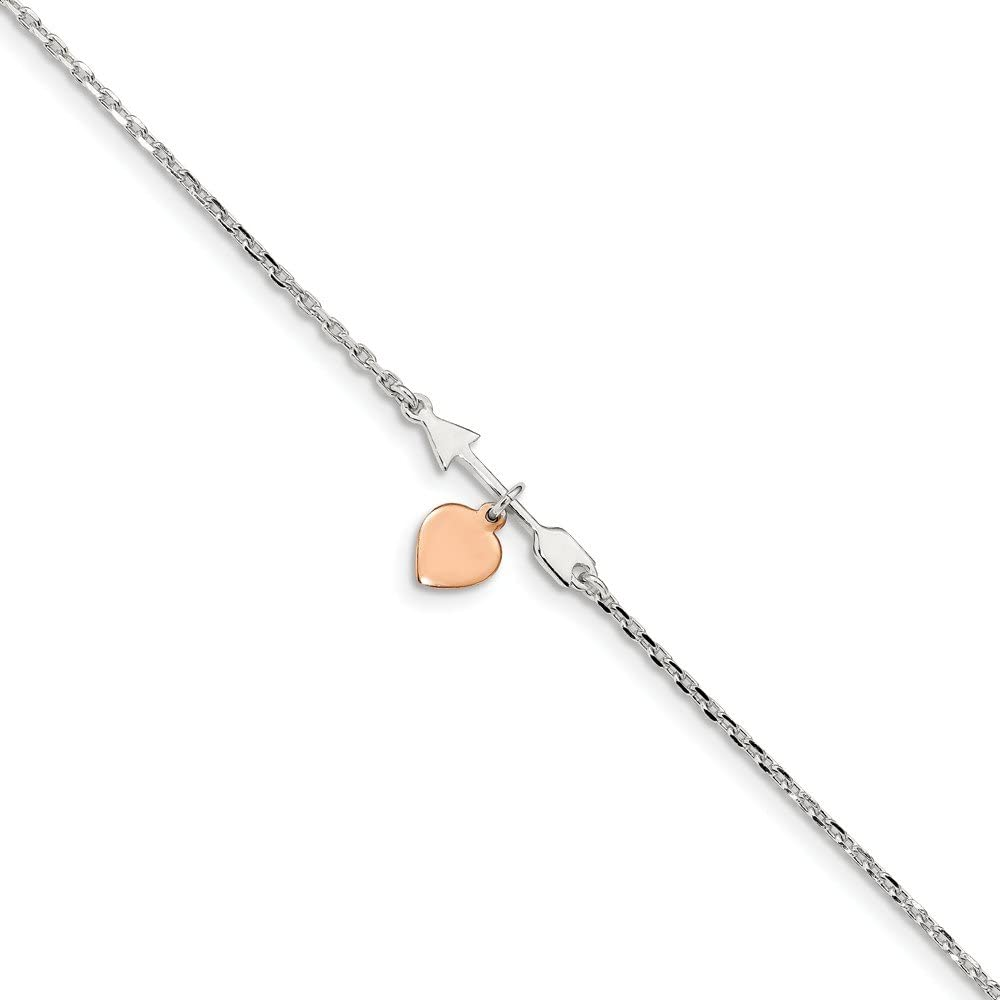 Beautiful Sterling silver 925 sterling Sterling Silver Arrow w//Rose-tone Heart 10in 1Ext Anklet