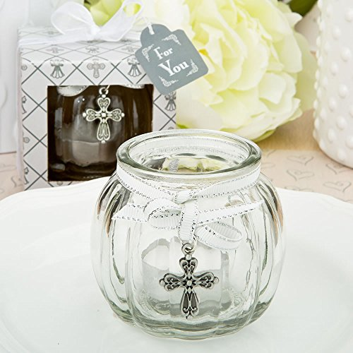 Cross themed clear glass round globe candle holder (24)