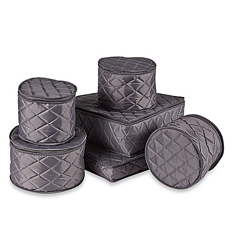 Storage Piece 6 China (.ORG Quilted 6-Piece China Storage Set, Grey)
