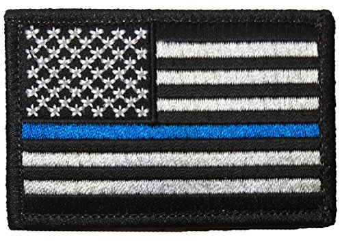 Tactical USA Flag Police Law Enforcement Thin Blue Line Iron Sewing on Patch - Black & White 2