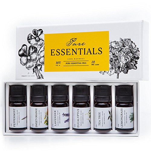 Essential-oils-by-PURE-ESSENTIALS-100-Pure-Therapeutic-Grade-Oils-kit-Top-6-Aromatherapy-Oils-Gift-Set-6-Pack-10MLEucalyptus-Lavender-Lemon-grass-Orange-Peppermint-Tea-Tree