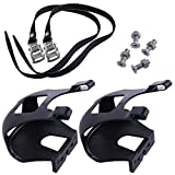 DeemoShop Cycling Road Bike Mountain Bike Black Toe Clips with Straps for Bicycle Pedal