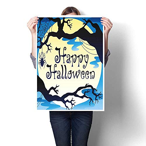 (1-Piece 100% Paintings,Collection Happy Halloween Quote Spooky Night Moon and Branches Shadows Haunted Lights YEL Oils,Bedroom Office Wall Art Home Decoration,16