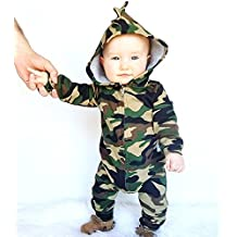 Newborn Baby Boys Girls Hooded Camouflage Romper Jumpsuit Clothes Outfit
