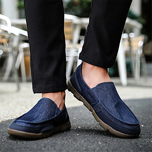 de Transpirable de verano Mocasines para On ocasionales deporte Zapatillas de los Zapatos de Bridfa deporte Blue de Slip lona hombres hombres Zapatillas tnwRO