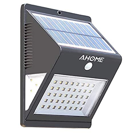 Luz Solar AHOME 600lm, 46LED Lámpara Solar Exterior, 270° Gran Angular de Iluminación