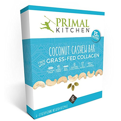 Primal Kitchen - Coconut Cashew Collagen Protein Bars, 12 Grams of Protein, Paleo Approved (Pack of 6, 1.7 oz)