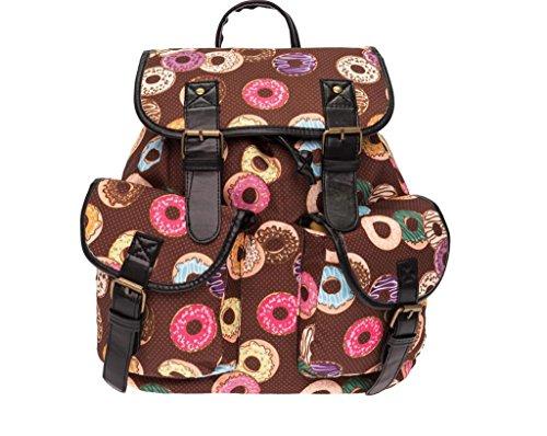 SHFANG Student Schultasche 3D Druck Donut Freizeit Mädchen Ein Geschenk von einem Kind Shopping Tourismus Doppel Taschen Braun 36 * 32 * 15cm