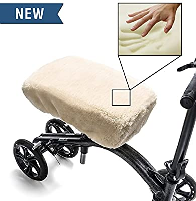 Knee Walker Pad Memory Foam Cover by GLI - High Quality Plush Faux Sheepskin Cushion for Rolling Scooter - Gives Extra Comfort While Recovering from Leg Injury
