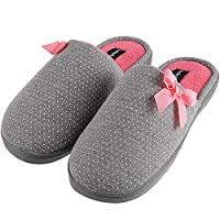KushyShoo Womens Slippers, Slip-On Memory Foam Insole House Shoes, Dot Printed Bowknot Slippers with Fluffy Lining, Dark Gray, Size 9