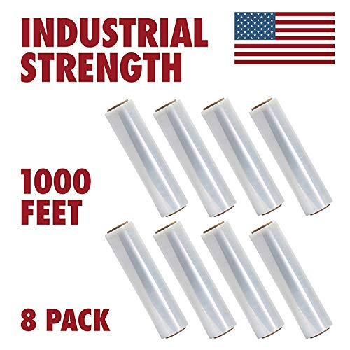 18 Inches X 1000 Feet Tough Pallet Shrink Wrap, 80 Gauge Industrial Strength Plastic Film, Commercial Grade Strength Film, Moving & Stretch Packing Wrap, for Furniture, Boxes, Pallets (8-Pack)