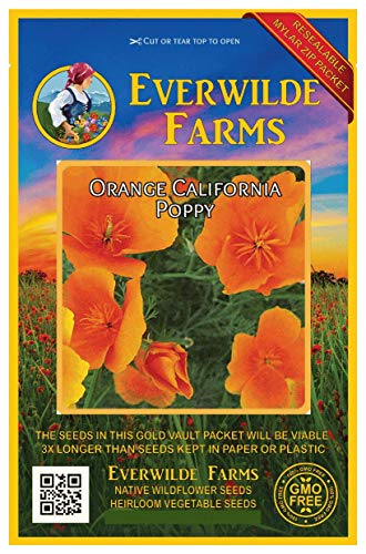 Everwilde Farms - 1000 Orange California Poppy Native Wildflower Seeds - Gold Vault Jumbo Seed Packet California Poppy Seed Paper