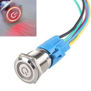 E Support™ 19mm 12V 5A Power Symbol Angel Eye Halo Car Red LED Light Metal Push Button Toggle Switch Socket Plug Wire