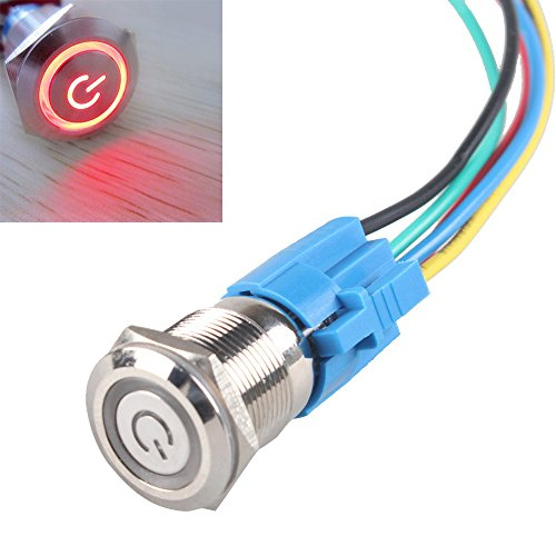 ESUPPORT 19mm 12V 5A Power Symbol Angel Eye Halo Car Red LED Light Metal Push Button Toggle Switch Socket Plug Wire