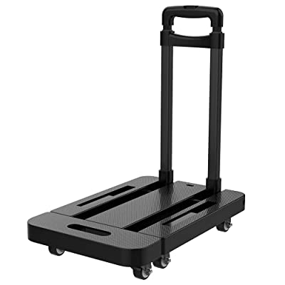 Upgraded 2020 Utility Folding Hand Truck Dolly Cart with Carrying Capacity 440LBS. 6 Wheels, 360 Rotating Portable Heavy Duty Platform Trolley Cart for Shopping, Moving, Travelling, Luggage and Office: Office Products