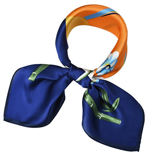 (Women 100% Mulberry Silk Neck Scarf Small Square Scarves Dark Midnight Blue Mango Tango Orchid Bamboo)