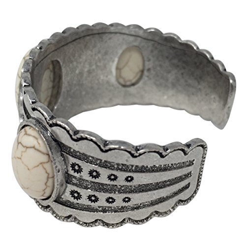Gypsy Jewels Burnished Silver Tone with Stones Wide Cuff Bangle Bracelet (Cream Oval 3 Stone) by Gypsy Jewels (Image #1)