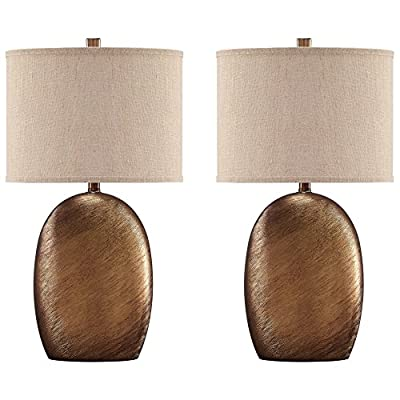Ashley Furniture Signature Design - Lewelyn Glazed Ceramic Table Lamp Set with Oval Drum Shades-Contemporary Style-Set of 2-Copper Finish