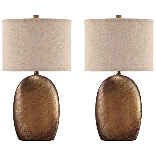 Glazed Ceramic Finish - Ashley Furniture Signature Design - Lewelyn Glazed Ceramic Table Lamp Set with Oval Drum Shades-Contemporary Style-Set of 2-Copper Finish