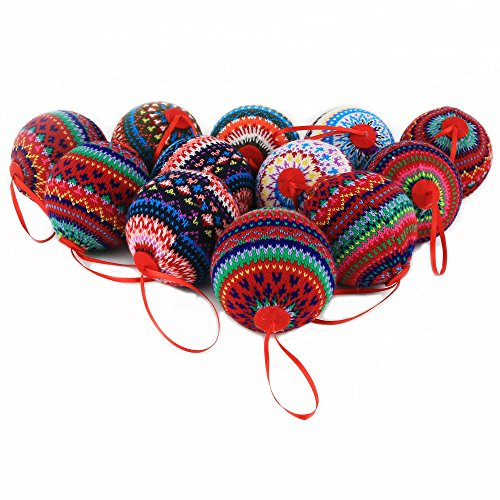 "WEWILL 2.95"" (75mm) Knit Ball Shape Christmas Ornaments with Colourful Stripes Design for Xmas Trees Parties Holiday Decoration,Set of 12 (Style 3)"