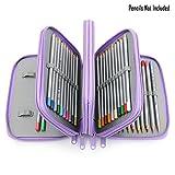 BTSKY® Handy Wareable Oxford Pencil Bag 72 Slots Pencil Organizer (Purple)