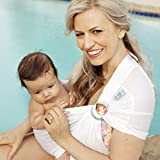 Beachfront Baby - Versatile Water & Warm Weather Ring Sling Baby Carrier | Made in USA with Safety Tested Fabric & Aluminum Rings | Lightweight, Quick Dry & Breathable (White Wave, One Size)
