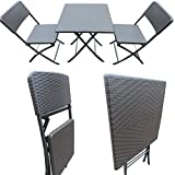 'Amaze' Folding Light Weight Portable Dining Table Patio Dining Table Garden Dining Table Outdoor Dining Table Fast food parlor Ice cream parlor Restaurant dining table -Chair set - BROWN RATTAN DESIGN (2 Chairs + 1 Table) set