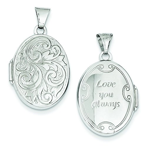 14k White Gold Reversible Love You Always Oval Locket by JewelryWeb