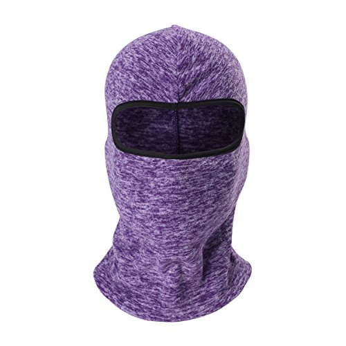 YASHALY Balaclava Face Mask, Multifunction Cationic Polar Fleece Thermal Neck Hood Hat for Cycling Running Halloween Christmas Party Skiing (Purple, One Size fit -