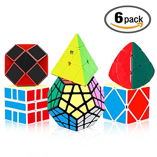 Tresbro Speed Cube Set, Qiyi Brain Teasers Magic Speedcubing Bundle of 6 Pack Megaminx, Pyramid, Mastermorphix, Skewb, SQ-1, Snake Twist Cube Puzzle Toys for Kids, Teens and Adults
