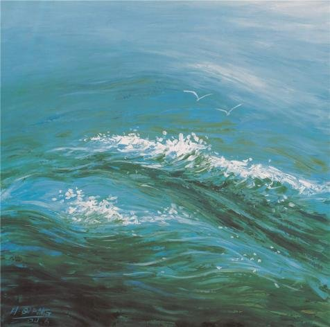 Oil Painting 'Waves And Sea Gull', 10 x 10 inch / 25 x 26 cm , on High Definition HD canvas prints is for Gifts And Basement, Game Room And - Sunglasses Where To Buy Wholesale