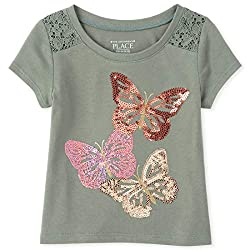 Girls Graphic Short Sleeve Lace T-Shirt