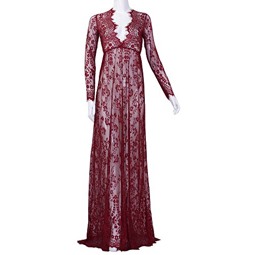 LAISIYI Sexy V-Neck Long Sleeve Lace Dress See-through Mullet Dress Redwine M -