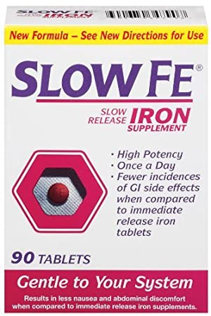 Slow Fe Slow Release Iron Tablets 90-Count Box by Slow Fe