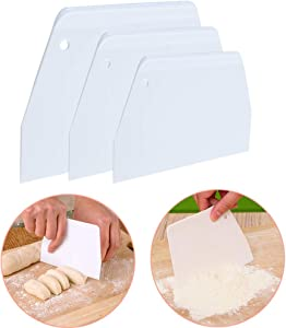 Luckycivia Dough and Bowl Scraper 3-Piece Trapezoidal Plastic Scraper Multi-Function Kitchen Scraper Food Safety Plastic Dough Cutter Hard Plastic Cutter For Pizza Dough Pastry Cake (White)