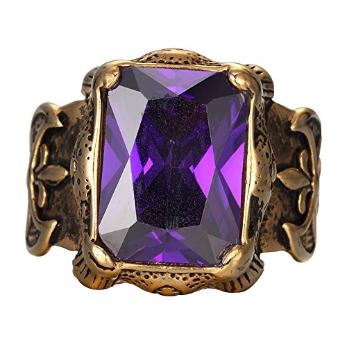 Mens Large 14K Gold plated Stainless Steel Purple Crystal Knight Cross Flower Gothic Vintage Ring Gold Purple