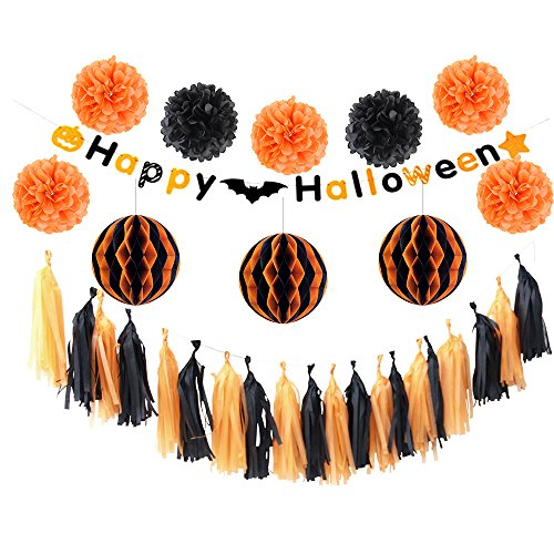 Halloween Party Decoration DIY Kit with Black Orange Banner, Honeycomb Ball, Pom poms, Tassels 12 pieces, For Classroom Home Office Dorm Rooms