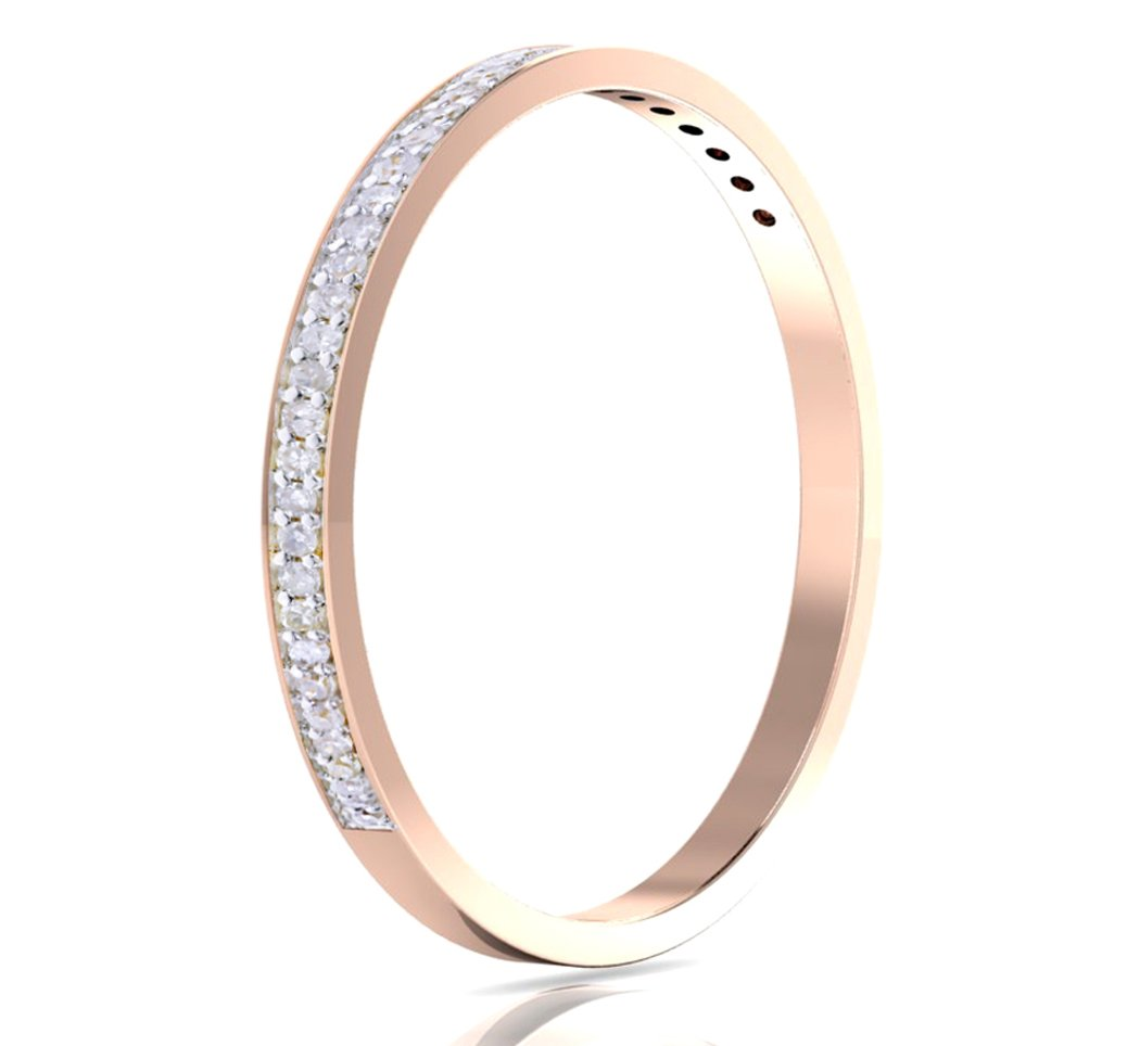 14k Gold Half Band Natural Diamond Wedding Anniversary Ring (1/10 cttw, G-H Color, I1-I2 Clarity) (rose-gold, 5)