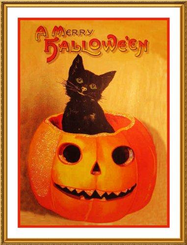 Orenco Originals Pumpkin Black Cat Halloween Counted Cross Stitch Pattern