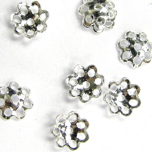 20 pcs .925 Bali Sterling Silver Round Flower Caps Bead ()