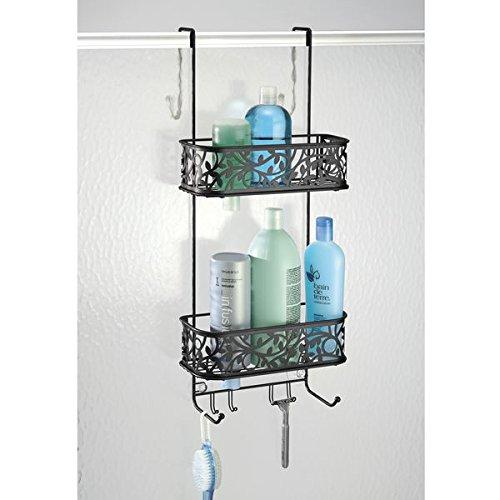 mDesign Bathroom Over Shower Door Caddy for Shampoo, Conditioner, Soap - Matte Black