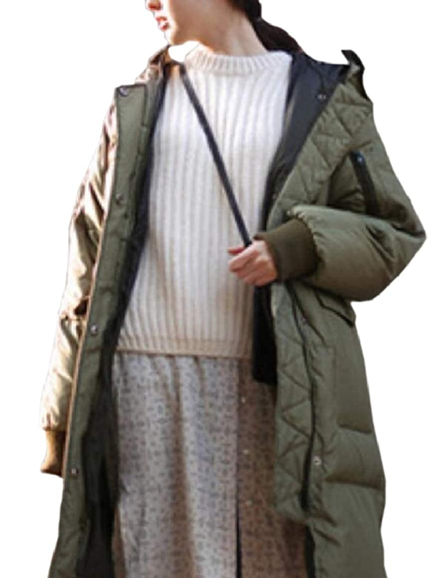 Ptyhk RG Womens Full Zip Solid Color Plus-Size Hood Casual Long Puffer Coats
