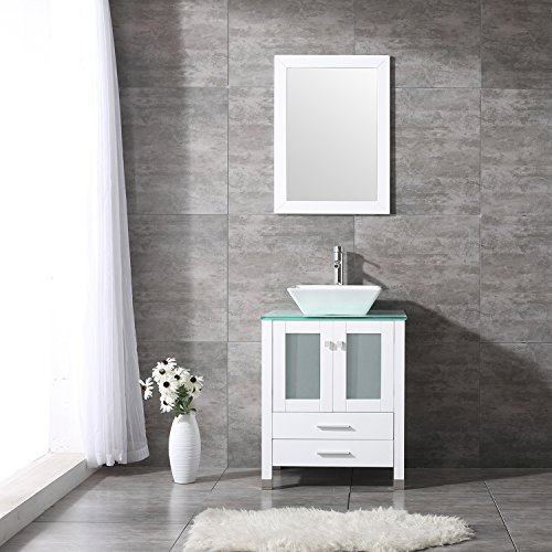 "Mirror Vessels (BATHJOY 24"" White Bathroom Wood Vanity Cabinet Top Square Ceramic Vessel Sink Faucet Drain Combo with Mirror Vanities Set)"