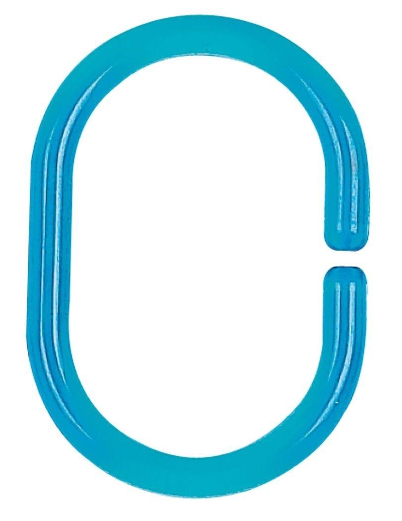 Spirella Clear Anneaux de rideau de douche Acqua Bleu - 12 piè ces
