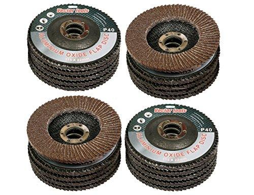 GHP 20-Pcs 4-1/2'' 180 Grit 13300RPM Resin Fiber Aluminum Oxide Sanding Flap Discs by Globe House Products