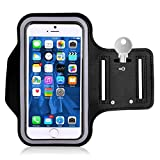 Sports Armband Workout Cover Gym Case Neoprene Sweat and Water Resistant Touch Screen Reflective [Black] for iPhone 6 Plus, 6S Plus, 7 Plus, 8 Plus, XS Max - Google Pixel 2 XL, HTC U11 - OnePlus 6